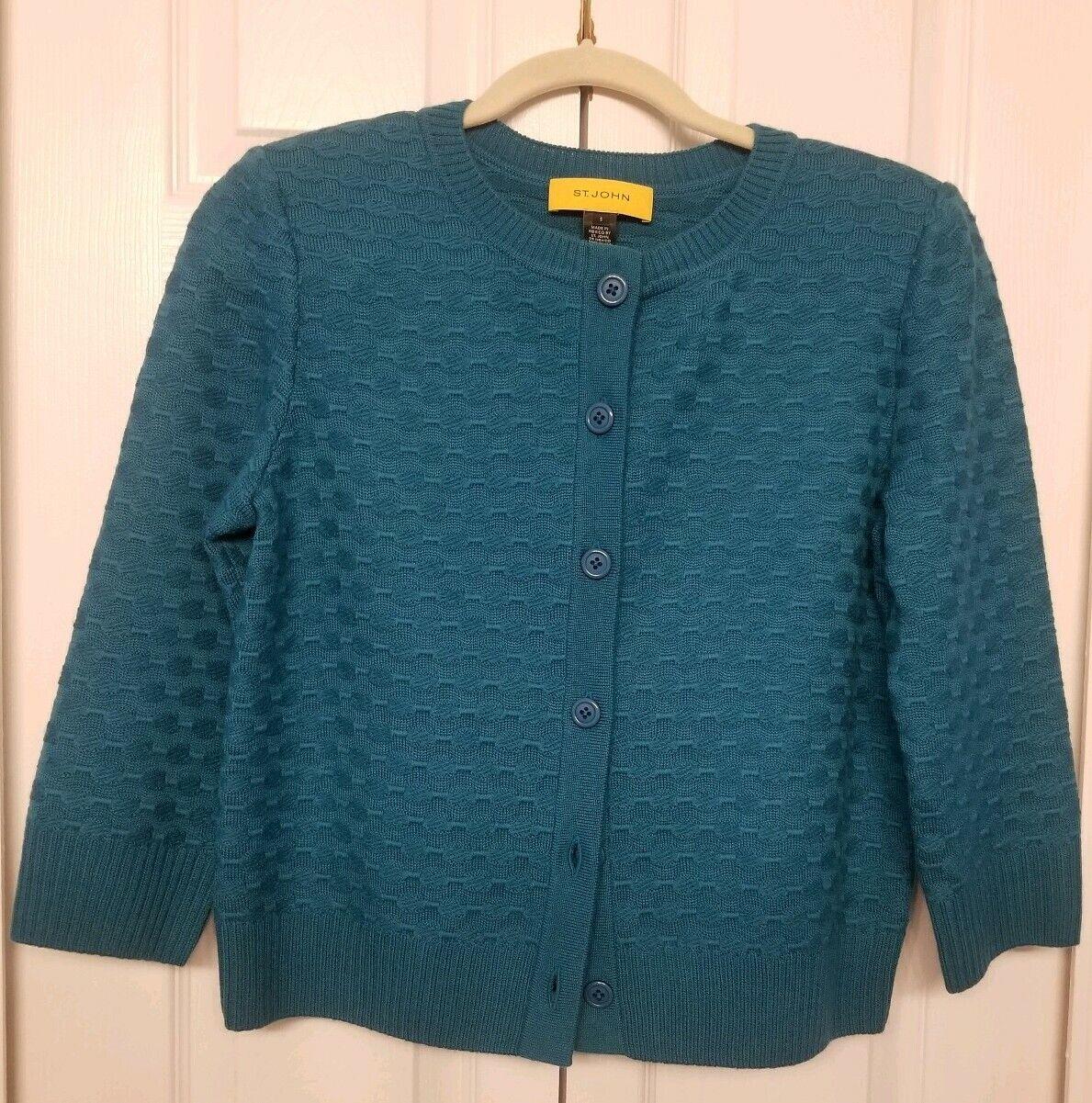 St. John jaune Label Turquoise Texturé voituredigan 100% laine tricot boutonnée devant