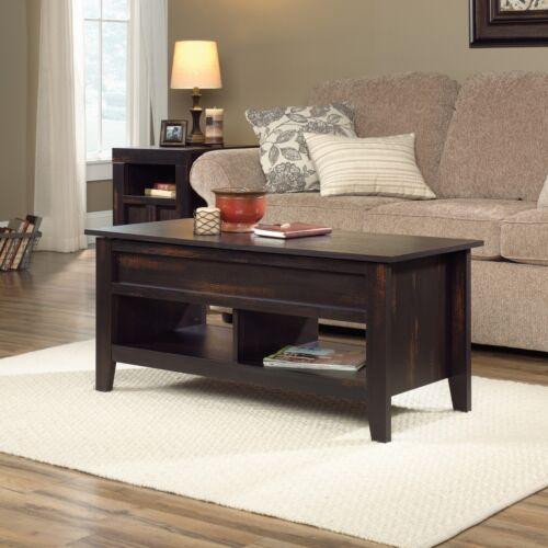 Sauder Living Room Lift-Top Storage Coffee Table Char Pine Finish