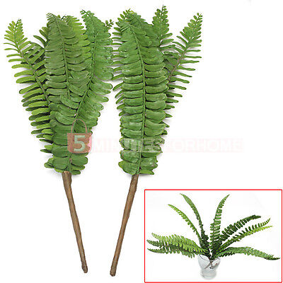 2 Pcs Artificial Plastic Fern Fake Plant Leave Foliage Home Party Office Decor