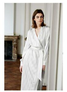 c36f2502 Details about BN Zara White Long Sleeve Satin Silky Wrap Crossover Kimono  Jacket Maxi Dress L