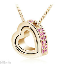 18k Gold Plated Swarovski Elements Crystal Rose Double Heart Necklace Pendant