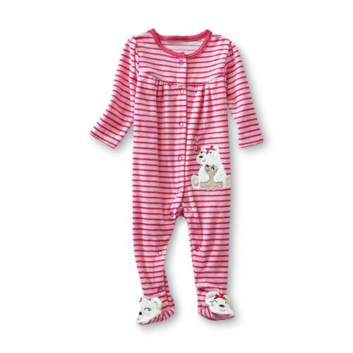 Strampler~NEU~USA~50-56~Schlafanzug~Füßen~ Eisbär~Rosa~gestreift~Samt ähnlich~