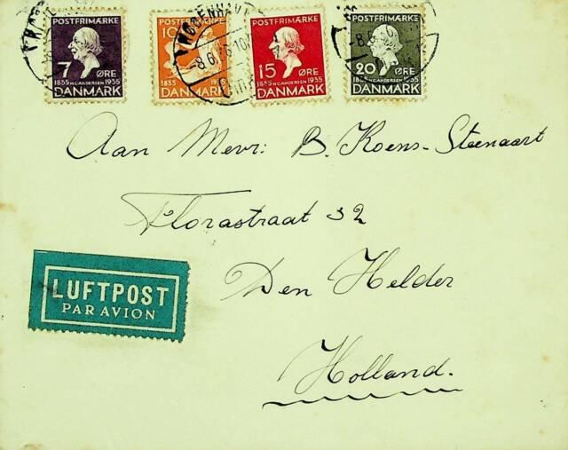DENMARK 1936 4v ON AIRMAIL COVER FROM COPENHAGEN TO DEN HELDER NETHERLANDS