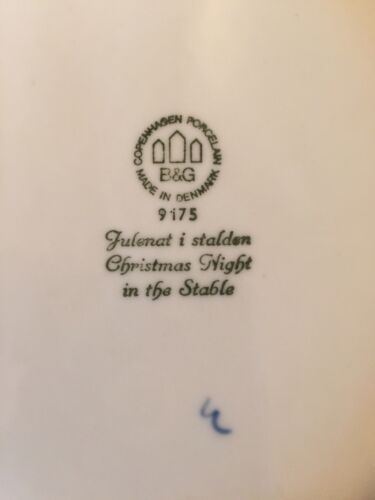 B/&G BOXED Bing /& Grondahl 1975 LARGE HORSES IN BARN Danish Anniversary Plate 9IN