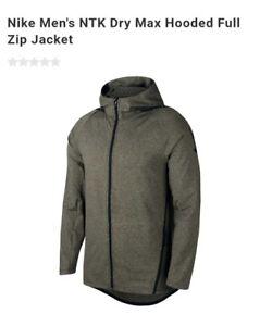 Nike Dri-FIT Long Sleeve Full-Zip Training Hoodie Olive Green Men ... ef433ed90