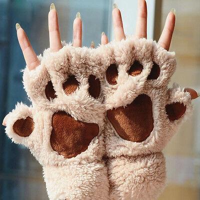 Soft Warm Winter Women Paw Gloves Fingerless Fluffy Bear Cat Plush Paw Chic