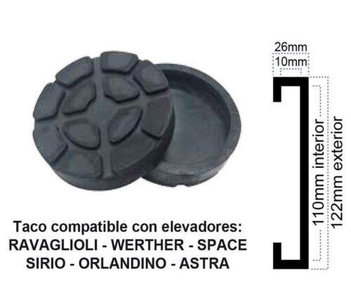 ASTRA SIRIO SPACE ORLANDINO WERTHER TACO DE GOMA PARA ELEVADOR RAVAGLIOLI
