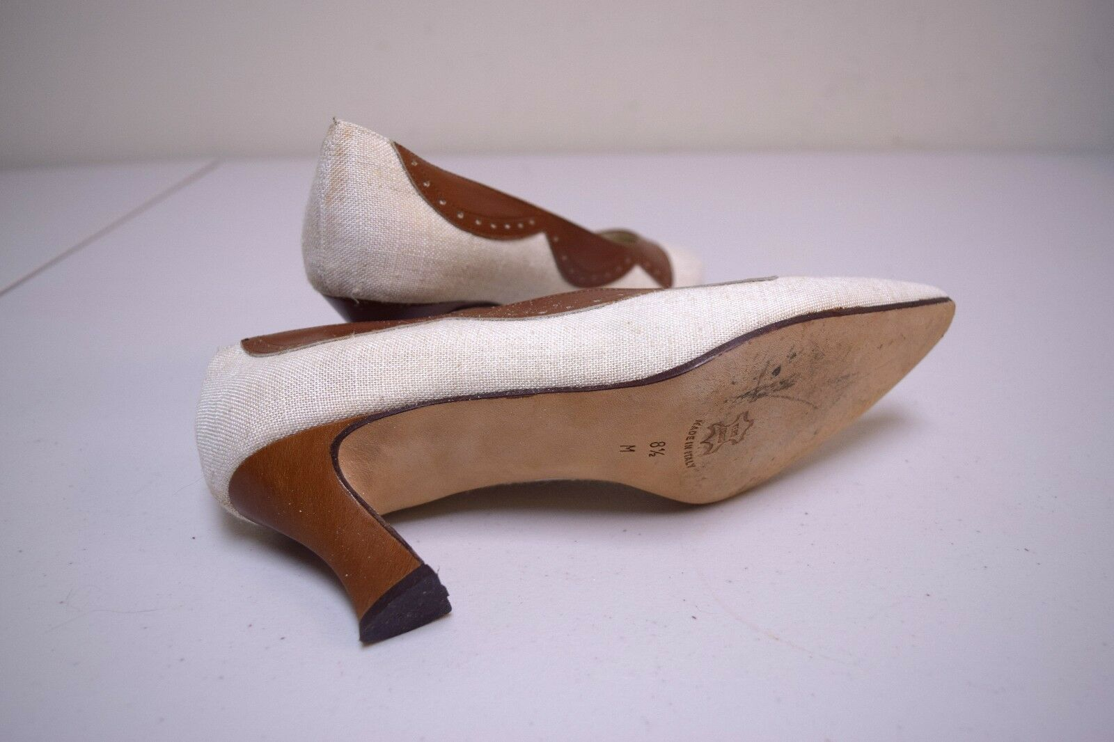 Vintage I MILLER Linen Heels & Leather Spectator Pumps Heels Linen Made in Italy Size 8.5 M c07cce