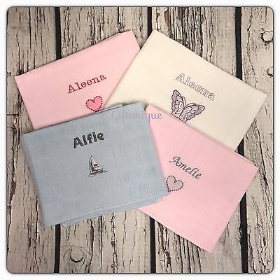 Personalised Embroidery Baby Flower Muslin Cloth Wash Face Burp Gift Keepsake