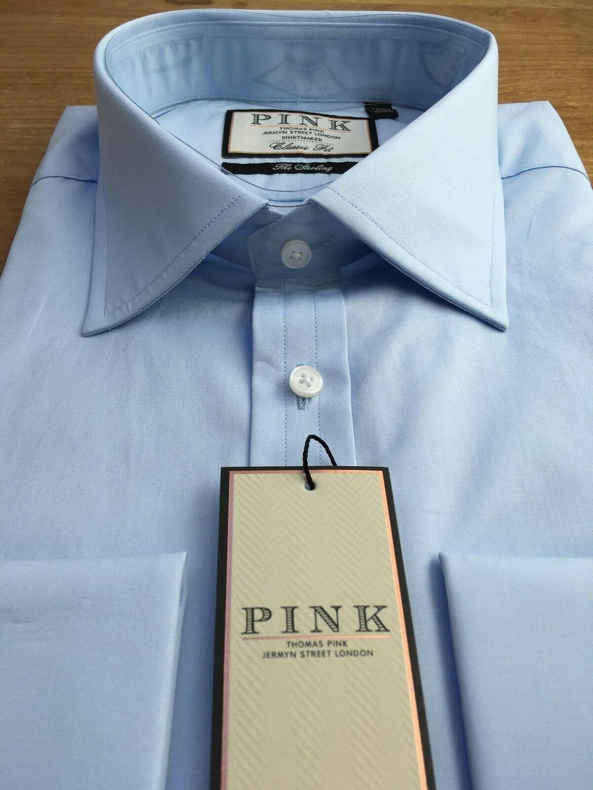 Thomas rosa 100's 2-Fold Camicia, UK 17, EU 43, LT Blu, Nuovo con Etichetta, prezzo consigliato