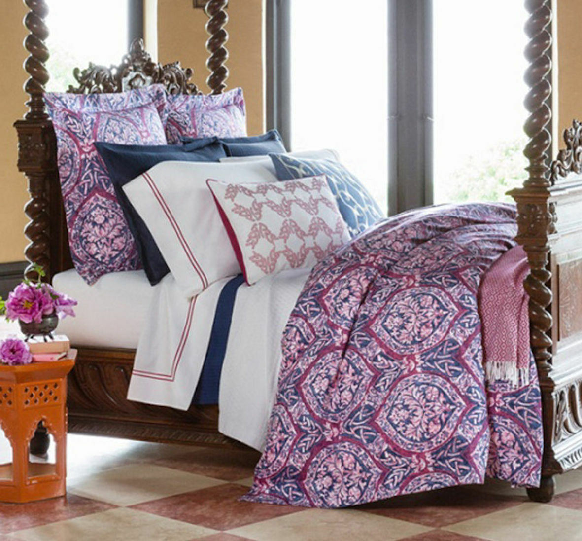 Sferra 2195 Rowyn Full Queen Duvet Comforter Cover Navy Berry Made in  NWT