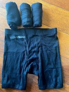 NEW mens 4 PACK GILDAN BOXER BRIEFS underwear BLACK cotton LOT medium 32/34 open