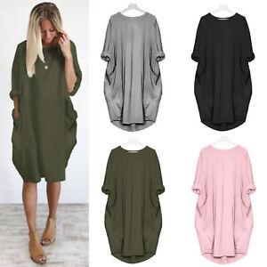 282d7238b Women Long Sleeve Hoodie Oversized Loose Baggy Tops Jumper Dress ...