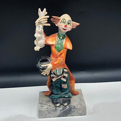 Clown Figurine Genuine Carrara Marble Statue Circus Rabbit