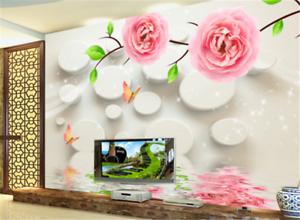 3D Circle Flower Leaves 73 Wallpaper Mural Paper Wall Print Wallpaper Murals UK