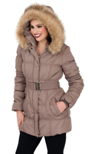 Women Quilted Padded Puffer Bubble Coat Ladies Faux Fur Hood Jacket RRP 59.99