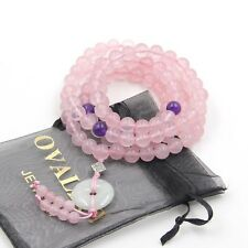 108 Natural Rose Quartz Tibet Buddhist Prayer Beads Mala Necklace Circle Pendant