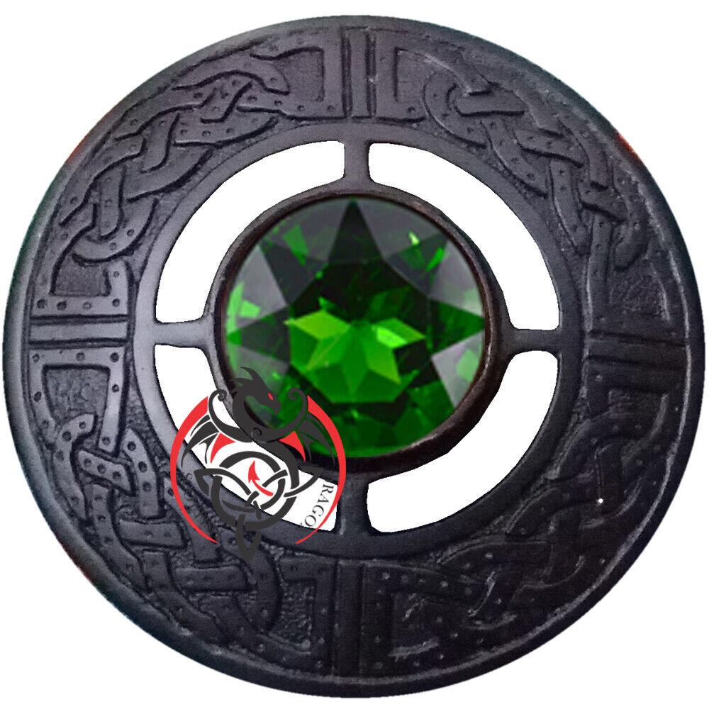 Highland Kilt Fly Plaid Brooch Green Stone Black Celtic Knot Brooches