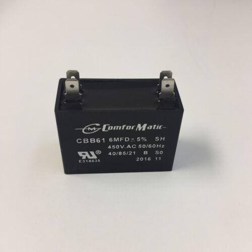A//C 6 uF 450 VAC Motor Run Capacitor Small Rectangular-Black CBB61