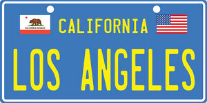 LOS-ANGELES-California-Aluminum-Novelty-Vanity-License-Plate-Tag-BLUE-amp-YELLOW