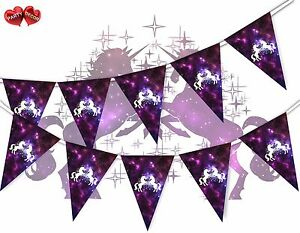 Unicorn-Galaxy-Space-With-Stars-and-Planets-Bunting-Banner-15-Flags-Birthday