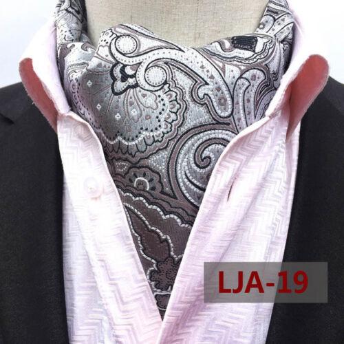 Mens Classic Black White Floral Silk Necktie Ascot Cravat Pocket Square Set Lot