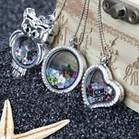 Cute Floating Glass Crystal Birthstone Living Memory Locket Necklace Charm BE
