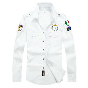 Mens-Military-Shirts-Long-Sleeves-Camisas-Air-Force-Army-Slim-Multicolor-EC6349