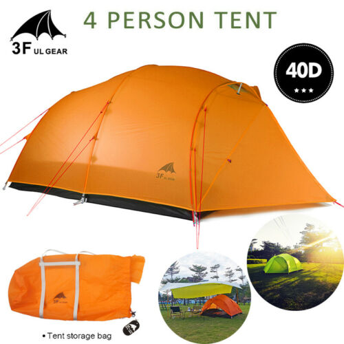 UK 4 Person Ultralight Backpacking Tent 40D Silicone Coated Camping Hiking Tent