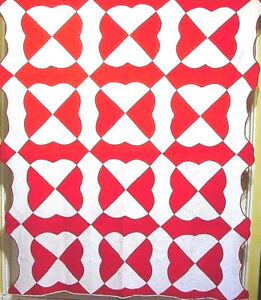 CLASSIC-RED-AND-WHITE-HEARTS-amp-GIZZARD-ANTIQUE-QUILT
