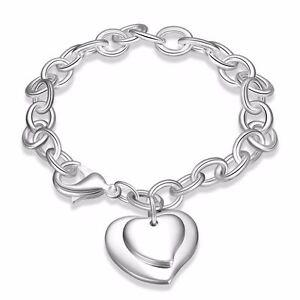UK-925-Silver-Plt-Double-Love-Heart-Charm-Bracelet-Bangle-Anklet-Ladies