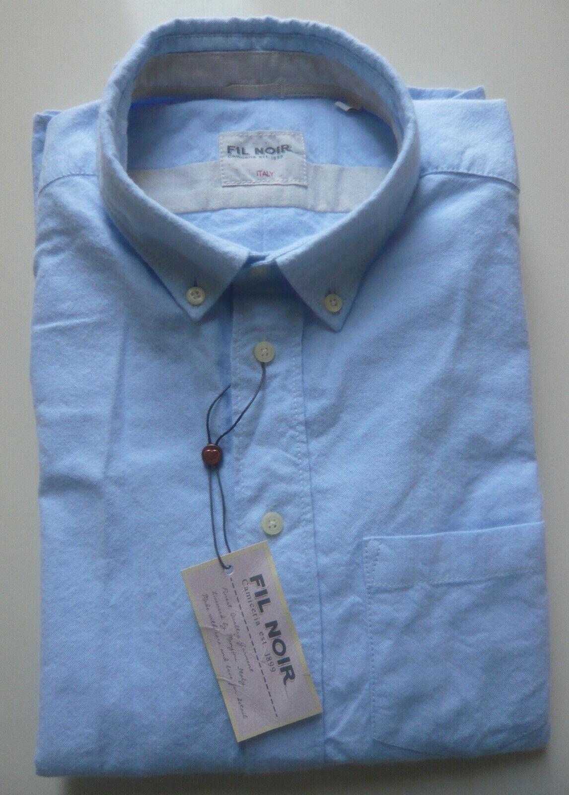 Fil schwarz ANTONIA Blause Langarm Gr. 38 hellblau Baumwolle Button Down Kragen