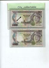 B123 # MALAYSIA 1986 $20 TG 9775999 & 6000 NICE NOS. SGN BY D. JAFFAR * UNC