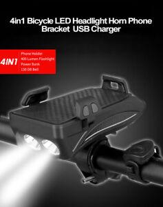 Vélo Lumière Corne de vélo Bell Phare Cyclisme USB Rechargeable Mobile  Support