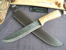 Jagdmesser Carbonstahl XL Messer 31,5 cm Olivenholz hunting knife Handarbeit Neu