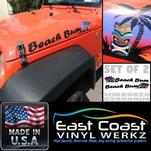 Tiki Beach Bum 2pc decal set for  Jeep Wrangler islander sport 4x4 Truck suv
