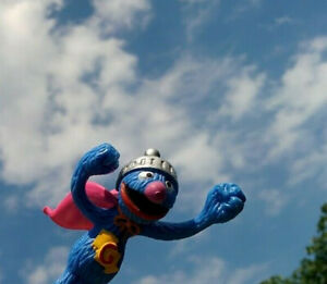Vintage-3-75-034-Sesame-Street-SUPER-GROVER-Toy-PVC-Figure-Henson-Muppets-Exclusive