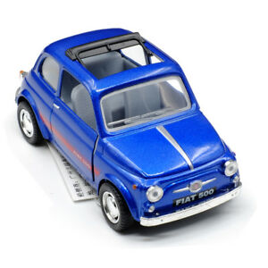 Fiat 500 Model Cars Toys 5 1 24 Open Two Doors Deep Blue Gifts Alloy