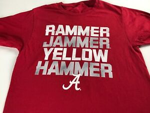 Alabama-Crimson-Tide-T-Shirt-Womens-Small-Rammer-Jammer-Yellow-Hammer-Roll-Grad