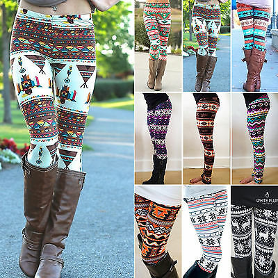 Casual Womens Colorful Print Leggings Stretchy Sexy Trousers Slim Pencil Pants