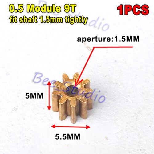 Motor Main Shaft 9T Metal Steel Brass Copper Gear 9 Teeth 0.5 Module Model Toy