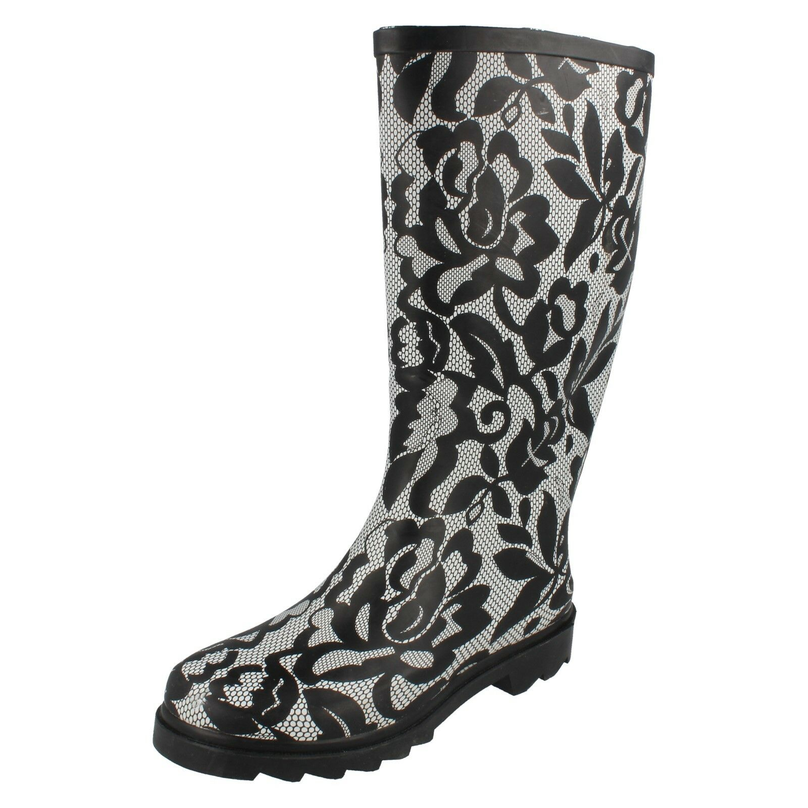 Ladies x1103 black and white rubber wellington boot By Spot On £19.99