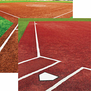 Reminisce ALL AMERICAN Dbl-Sided 2pc Scrapbooking Paper BASEBALL