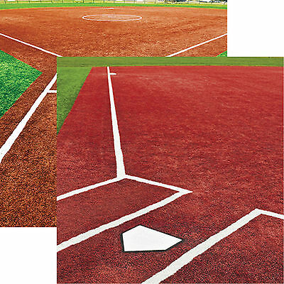 Reminisce SOFTBALL CLOSE UP 12x12 Dbl-Sided 2pc Scrapbooking Paper