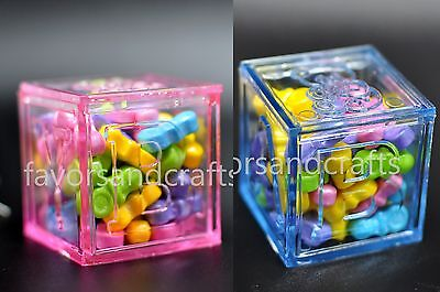 12 Fillable Blocks Baby Shower Favors Blue Pink Party Decorations Girl Boy Cubes