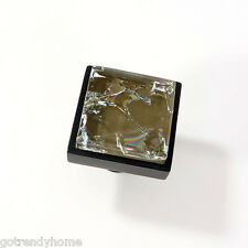 Brown Crackle Crystal Glass Cabinet Black Metal Knob Drawer Square Hardware Door