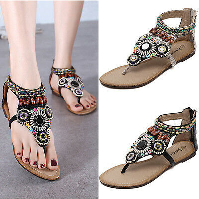 Women Summer New Bohemia Beads Slipper Flip Flops Flat Sandals Beach Thong Shoes