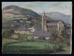 Olio-su-Tela-Raffigurante-un-Paesaggio-di-Montagna-Firmato-e-Datato-1932-Francia