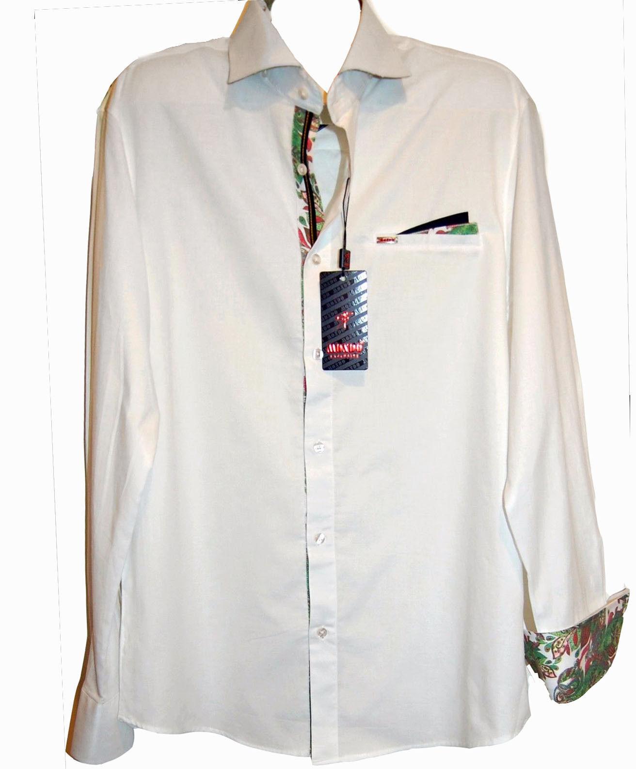 Mondo White Green Floral Lining Cotton Fancywork Men's Dress Shirt Size 3XL NEW
