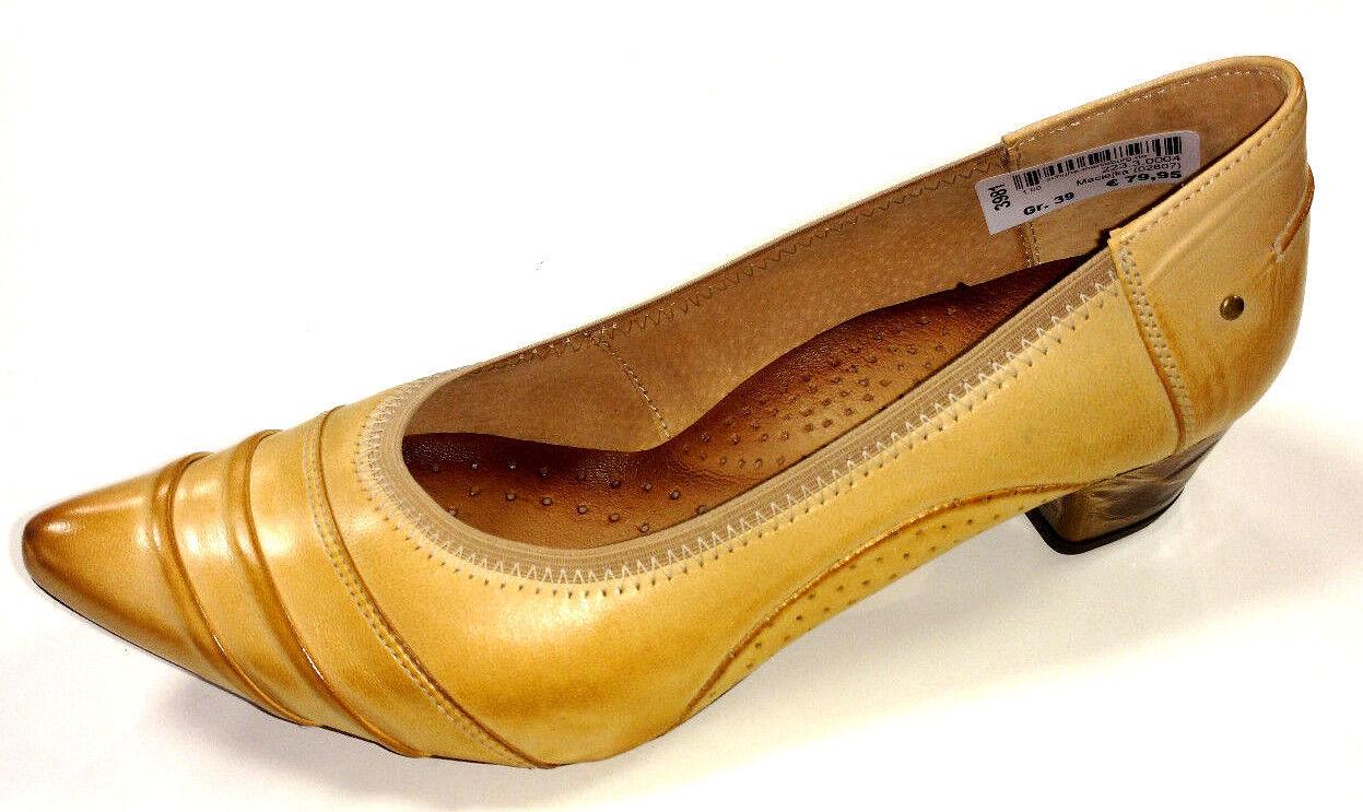 Maciejka Polen Damen Schuhe Pumps Slipper 02807 Leder braun 35mm Blockabsatz